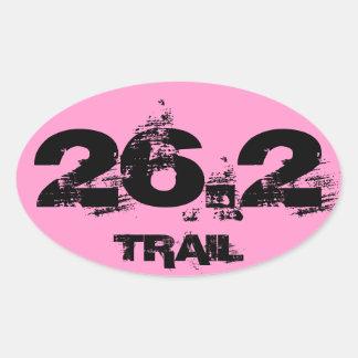 Marathon 26.2 Trail Oval Decal Black On Pink Oval Sticker