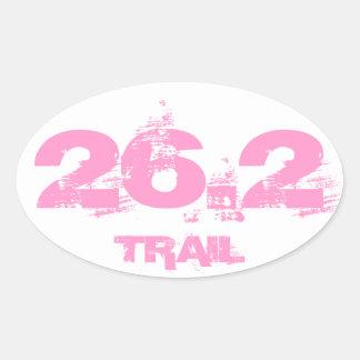 Marathon 26.2 Trail Oval Decal Pink On White Oval Sticker