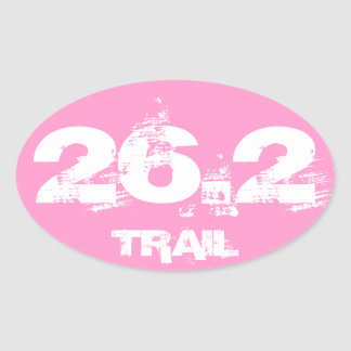 Marathon 26.2 Trail Oval Decal White On Pink Oval Sticker