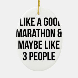 Marathon & 3 People Ceramic Ornament