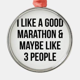 Marathon & 3 People Metal Ornament