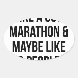 Marathon & 3 People Oval Sticker