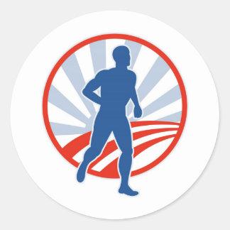 Marathon road runner jogger fitness classic round sticker