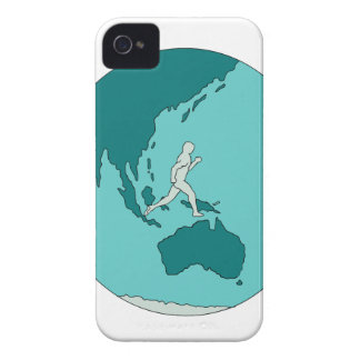Marathon Runner Around World Drawing Case-Mate iPhone 4 Case