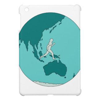 Marathon Runner Around World Drawing iPad Mini Covers