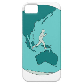 Marathon Runner Around World Drawing iPhone 5 Cover