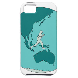Marathon Runner Around World Drawing iPhone 5 Covers