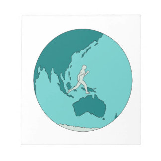 Marathon Runner Around World Drawing Notepad