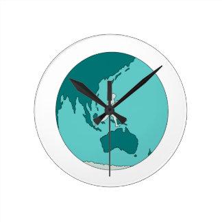 Marathon Runner Around World Drawing Round Clock