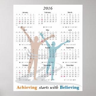 Marathon Runner Motivational 2016 Calendar Poster