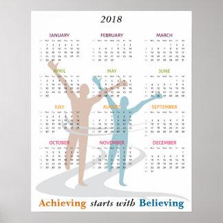 Marathon Runner Motivational 2018 Year Calendar Poster
