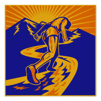 Marathon runner or jogger on mountain road poster