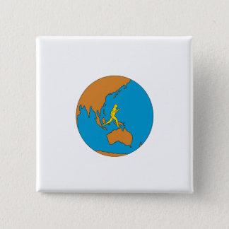 Marathon Runner Running Around World Asia Pacific 2 Inch Square Button