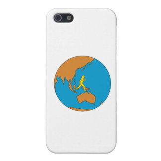 Marathon Runner Running Around World Asia Pacific iPhone 5 Case