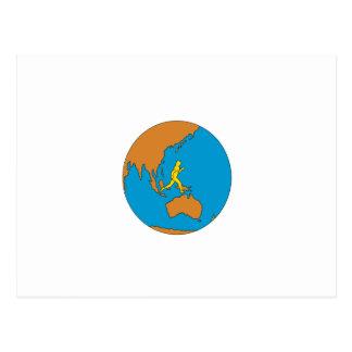 Marathon Runner Running Around World Asia Pacific Postcard