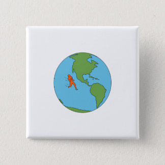 Marathon Runner Running North and South America Dr 2 Inch Square Button