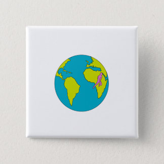 Marathon Runner Running South America Africa Drawi 2 Inch Square Button