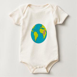 Marathon Runner Running South America Africa Drawi Baby Bodysuit