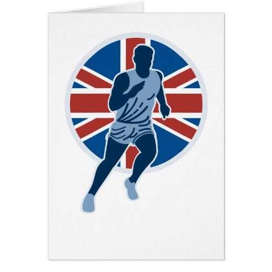 Marathon runner silhouette british flag card