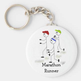 Marathon Runners Basic Round Button Keychain