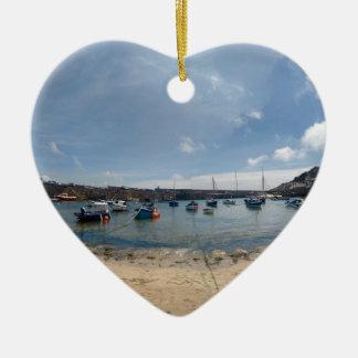 marazion harbour ceramic heart ornament