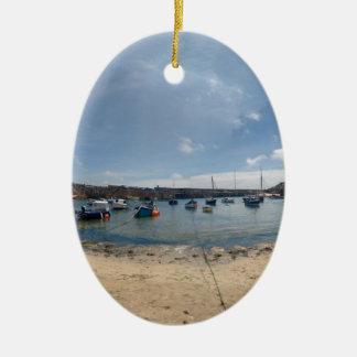 marazion harbour ceramic oval ornament