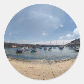 marazion harbour round sticker