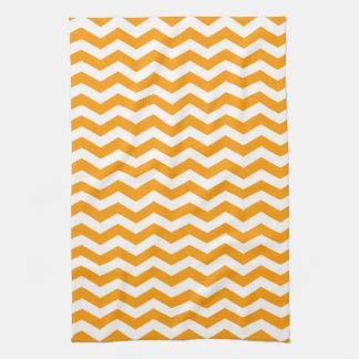 Marbella Orange Wave Chevron Kitchen Towel