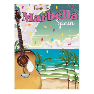 Marbella Spanish vintage holiday poster Postcard