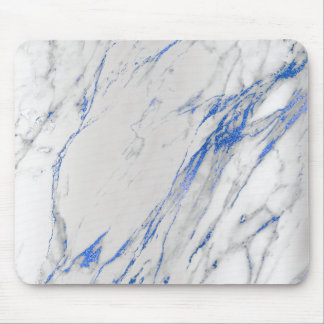 Marble Abstract Silver Blue Navy Gray White Unique Mouse Pad