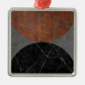 Marble abstract Silver-Colored square ornament
