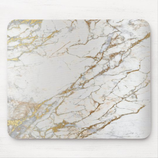 Marble Abstract Silver Gold Grey White Unique Mouse Pad