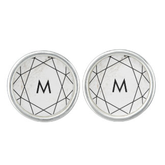 Marble and Black Geometric Lines with Monogram Cufflinks