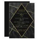 Marble and Gold Art Deco Geometric Slate Wedding Card