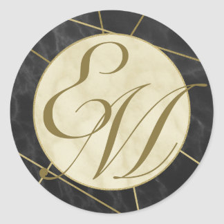 Marble and Gold Art Deco Monogram Classic Round Sticker