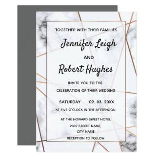 Marble and gold elegant wedding invitation