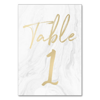 Marble and Gold Script | Table Number Card 1