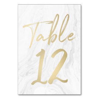 Marble and Gold Script | Table Number Card 12