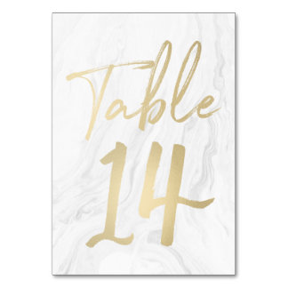 Marble and Gold Script | Table Number Card 14
