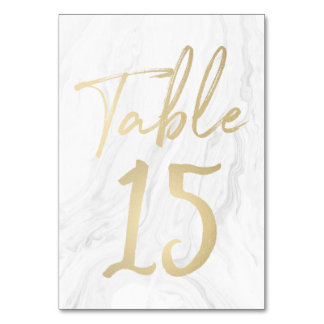 Marble and Gold Script | Table Number Card 15 Table Card