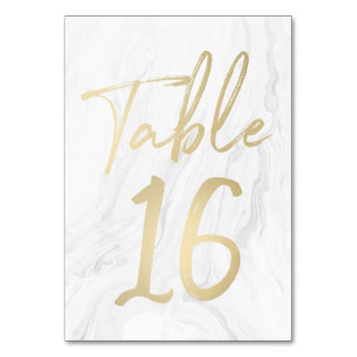 Marble and Gold Script | Table Number Card 16 Table Card