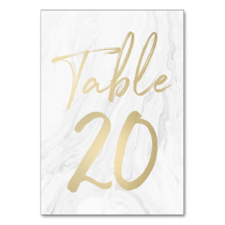 Marble and Gold Script | Table Number Card 20 Table Card