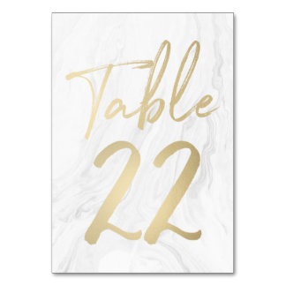 Marble and Gold Script | Table Number Card 22