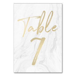 Marble and Gold Script | Table Number Card 7