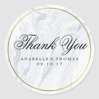 Marble and Gold Wedding Classic Round Sticker