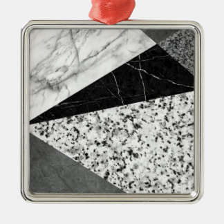Marble and Granite Abstract Silver-Colored Square Ornament