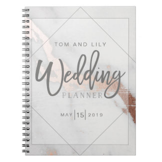 MARBLE AND METALLIC WEDDING PLANNER NOTEPAD NOTEBOOK