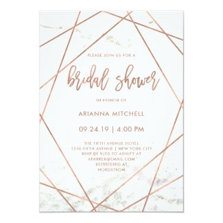 Marble and Rose Gold Geometric Bridal Shower Card