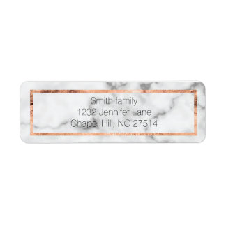 Marble and rose gold return address label