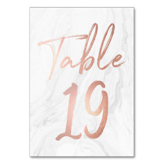 Marble and Rose Gold Script | Table Number Card 19 Table Card